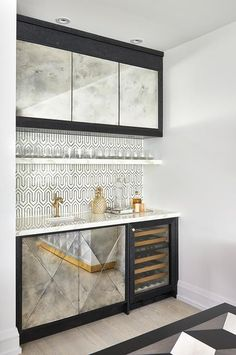 Antiqued mirrored wet bar cabinets
