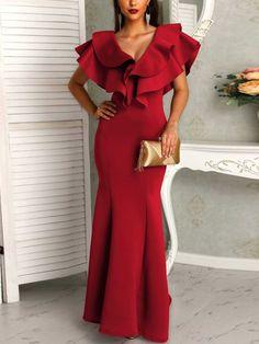 Falbala V-Neck Ruffle Sleeve Women's Maxi Dress Red Wedding Dresses, Formal Dresses, Fishtail Dress, Trend Fashion, Women's Fashion, Plain Dress, Womens Fashion Online, African Dress, Ruffle Sleeve
