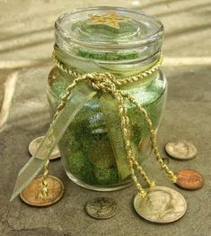 Money Spell Bottle 5 old pennies 5 dimes 5 quarters 5 kernels of dried corn 5 sesame seeds 5 cinnamon sticks 5 cloves 5 ...
