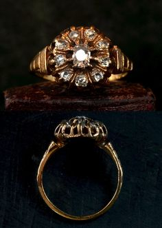 1870s Victorian Mine Cut Diamond Cluster Ring, 14-18K (sold)