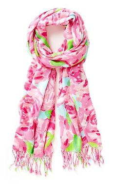 Lilly Pulitzer Printed Lilly Scarf in First Impression- back in stock.