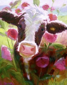 Hilda in the Hollyhocks by Elizabeth Perkins Oil ~ 18 x 14