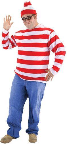men's costume: where's waldo-plus size
