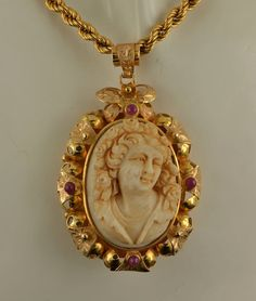 Magnificent Victorian museum quality large cameo medallion and rope chain