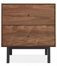 Hudson Two-Drawer Nightstand with Steel Base  Wood:Solid walnut  Base:Natural Steel  Knob:Natural steel