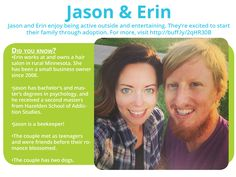 Get to know: Jason & Erin, a probation officer and salon owner looking to #adopt. Jason's also a beekeeper.