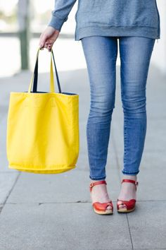 yellow reversible tote, red sandals