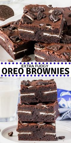 Brownie recipes 4855512086269027 - These insanely delicious Oreo brownies are extra fudgy, stuffed with Oreo cookies, and topped with even more Oreos. Made from scratch and oh so easy! Oreo Brownies, Beste Brownies, Homemade Brownies, Homemade Chocolate, Chocolate Recipes, Baking Brownies, Chocolate Tarts, Easy Oreo Brownie Recipe, Delicious Chocolate