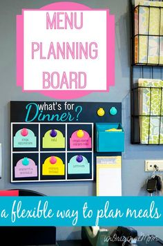 Menu Planning Board - pick from pre-printed meal tags and shop for 6 meals, but you don't have to schedule specific meals for each day! | unOriginalMom.com | #organization #mealplanning