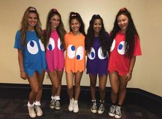 The ghosts from pac man group costume Cute idea. The ghosts from pac man group costume Cute idea. The ghosts from pac man group costume Halloween Costume Teenage Girl, Costumes For Teenage Girl, Best Group Halloween Costumes, Theme Halloween, Halloween Outfits, Diy Halloween, Halloween Parties, Halloween Recipe, Halloween Makeup