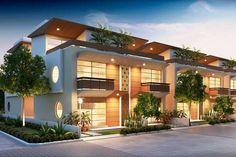 O projeto de iluminação ganhou destaque nessas casas geminadas