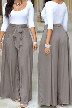 Dress pants outfits - Casual O Neck Three Quarter Sleeves Laceup Twopiece Pants Set(White Top+Silver Bottom) Twopiece Outfits Womens Clothing LovelyWholesale Wholesale Shoes,Wholesale Clothing, Cheap Clothes,Cheap Sho Classy Dress, Classy Outfits, Chic Outfits, Dress Outfits, Dress Pants, Pants Outfit, Spring Outfits, Latest African Fashion Dresses, African Dresses For Women