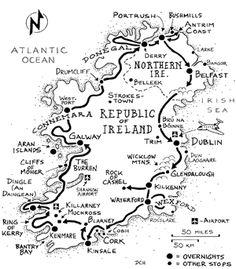 Sorta basing our two week itinerary on this original Rick Steve's three week Ireland itinerary map