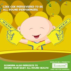 Amazing performance #ChennaiSuperKings! The team's continued efforts have led to their commendable all round performance.  Similarly, Econorm not only stops diarrhea but also prevents dehydration, improves immunity and maintains metabolism, for the all round health of your child! #Econorm #IPL