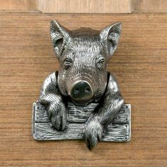 This would be great on the kitchen door. Pig Door Knocker - Antique Pewter by Whittington Collection Antique Door Knockers, Door Knockers Unique, Door Knobs And Knockers, Cool Doors, Unique Doors, Door Detail, Door Accessories, Door Furniture, Antique Pewter