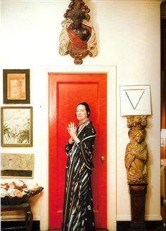 Diana Vreeland at home wearing Issey Miyake