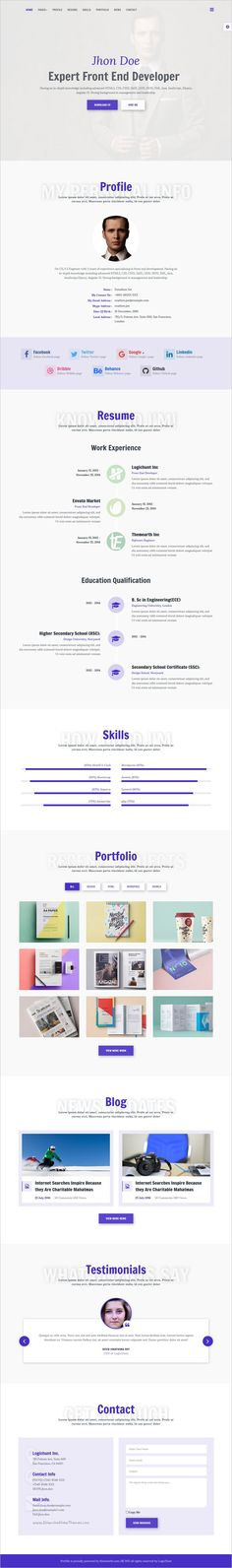 Mountainhead - Responsive One Page HTML Template Template and - html resume