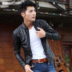 Spring Thin Style Leather Coat Men Korean Version Of The Men Stand-up Collar Slim Coat Men PU Locomotive Leather Jacket