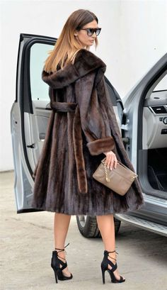 MINK FURS - brown saga mink trench fur coat hood - furs outlet