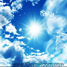 Sunshine Clouds Blue Sky 00082 Ceiling Wall Mural Wall paper Decal Wall Art…