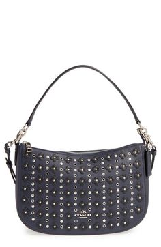 COACH 'Chelsea' Studded Floral Embellished Leather Crossbody Bag
