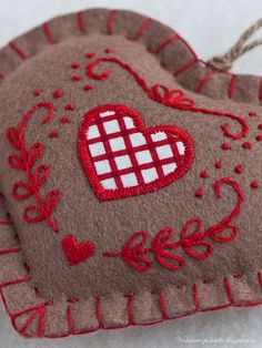 International Embroidery Patterns, embroidered felt heart ornaments