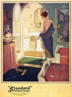 gorgeous vintage art deco posters | Vintage 1920s DECO Flapper Girl POWDER Room Bath Bathroom Advertising ...