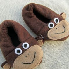 Monkey Slipper Shoe Bootie Sewing Pattern PDF Baby by LadybugBend, $4.50