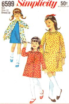 Vintage 1966 Childs and Girls One-Piece Dress and Smock Size 12 Simplicity 6599 UNCUT Sewing Pattern   Flickr - Photo Sharing!