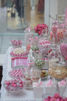 For Jenelle. Pink, White Candy Buffet with a touch of Red and Mint Green Candy Buffet by Ooh La La Lolly Bars & Candy Buffets. Pink Candy Buffet, Lolly Buffet, Candy Buffet Tables, Candy Table, Dessert Tables, Bar A Bonbon, Rose Bonbon, Decoration Buffet, Candy Display
