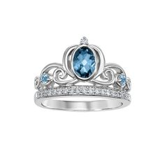 Enchanted Disney Fine Jewelry Diamond and Blue Topaz Cinderella Carriage Ring in Sterling Silver wedding carriage Cinderella Ring, Cinderella Engagement Rings, Cinderella Carriage, Enchanted Disney Fine Jewelry, Disney Enchanted, Topas, Three Stone Engagement Rings, Disney Jewelry, Princesas Disney