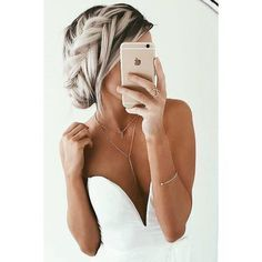 Love this colour! Bleach 'white' blonde with long dark roots! it looks... ❤ liked on Polyvore featuring accessories, hair accessories, long hair accessories and white hair accessories
