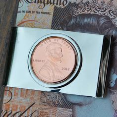 2012 Copper Anniversary Money Clip, US Cent Money Clip, 2012 Penny Birth Year Money Clip Copper Anniversary Copper Anniversary Gifts, Anniversary Gifts For Him, Penny Coin, Lucky Penny, Birth Year, Present Gift, Groomsman Gifts, Money Clip, Wedding Gifts