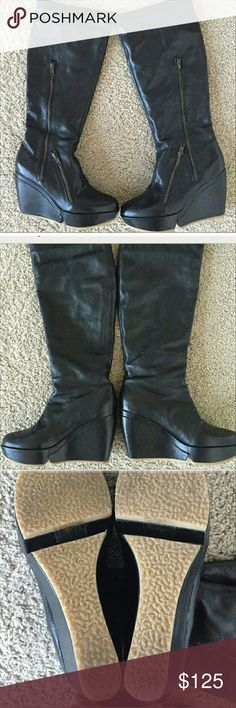 Faryl Robin knee-high leather boots! Great conditon, barely worn Faryl Robin boots! Leather with cool zipper detail and rubber soles! Super comfy! faryl robin Shoes Wedges