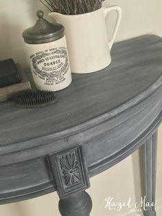 Furniture Upcycled Annie Sloan Paris Grey wash over Graphite on accent table by Hazel Mae Home How A Painted Bedroom Furniture, Grey Furniture, Chalk Paint Furniture, Refurbished Furniture, Repurposed Furniture, Furniture Projects, Furniture Makeover, Furniture Design, Furniture Outlet