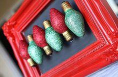 Glitter Christmas Light Magnets | AllFreeHolidayCrafts.com