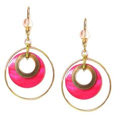 John Michael Richardson Brass Plated Neon Pink Enamel Dangle Hoop... ($25) ❤ liked on Polyvore featuring jewelry, earrings, dangle earrings, neon pink earrings, dangle hoop earrings, earrings jewelry and dangling jewelry