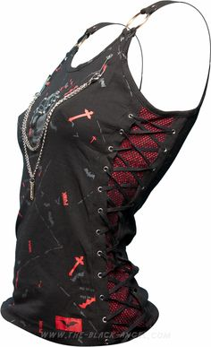 Sleeveless women's punk shirt with chain & razorblade detail, by Queen of Darkness. If I was younger.