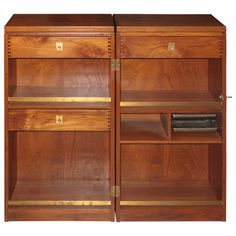 """Danish 1950s-60s Brass-Mounted Teak Folding Bar Cabinet. Top opens up to a serving space 71"""" long. Available at Arenskjold Antiques, 605 Warren Street in Hudson NY. For more info visit: www.arenskjold.com"""
