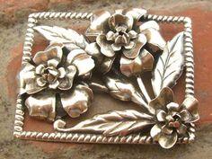 Vintage LARGE Roped 3D Flower Sterling Silver 925 Pin Brooch (22.0g)