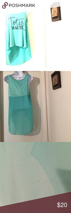 """Turquoise hi low blouse. Loved hi low blouse. Unnoticeable wear in pictures 3 & 4...(""""Totes HAUTE vfish"""") Favs by vfish Tops Blouses"""