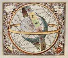 Situs Terrae Circulis Coelestibus Circundatae. Celestial Chart from Harmonica Microcosmica, Valk & Schenk, Amsterdam, 1708. Andreas Cellarius