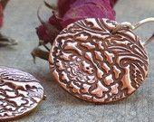 Flower copper earrings flower earrings, jewelry design copper dangle earrings handstamped jewelry metalwork jewelry gift idea birthday gift