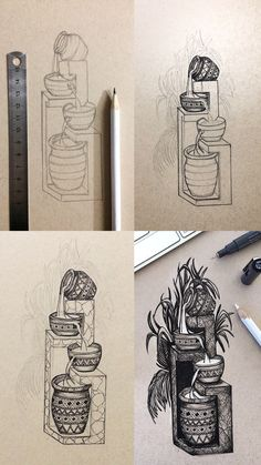 Tranquil flowing water in vases ink illustration mini tutorial with step by step process photos of the sketch vase vase vase vase vase vase beton painting sketch vase ideas Pencil Art Drawings, Doodle Drawings, Doodle Art, Drawing Sketches, Ink Illustrations, Paper Illustration, Toned Paper, Pen Art, Art Plastique