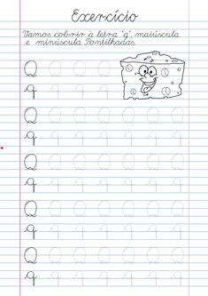 Atividade Letra Q pontilhada para imprimir Alphabet Tracing Worksheets, Homeschool Worksheets, Tracing Letters, Phonics Lessons, Calligraphy Alphabet, Handwriting Practice, Lettering Tutorial, Preschool Learning, Math Equations