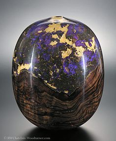 Walnut burl inlaid with violet and gold resin and gold leaf; Robert W. Chatelain