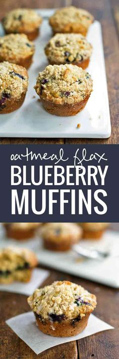 Oatmeal Flax Blueberry Muffins - crumbles of yummy muffin mix and fresh blueberries!