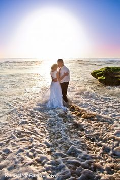 Sunset Beach Wedding Bride & Groom Kiss in the Waves and Surf - La Jolla, San Diego  www.rachelmcfarlinphotography.com