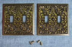 2 Metal Light Switch Cover Plate Brass by SunPorchOnLilacLane
