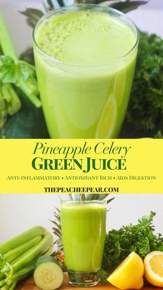 This Pineapple Celery Green Juice is not only extremely healthy and rich with nutrients; it's also tasty and refreshing. This green juice is great to assist your body in getting it's digestion back on Juice Cleanse Recipes, Green Juice Recipes, Healthy Juice Recipes, Juicer Recipes, Healthy Juices, Healthy Smoothies, Healthy Drinks, Detox Juices, Detox Drinks